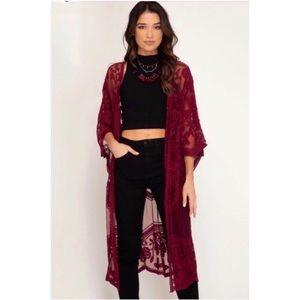 She + Sky Crochet Lace Midi Duster Kimono - Wine